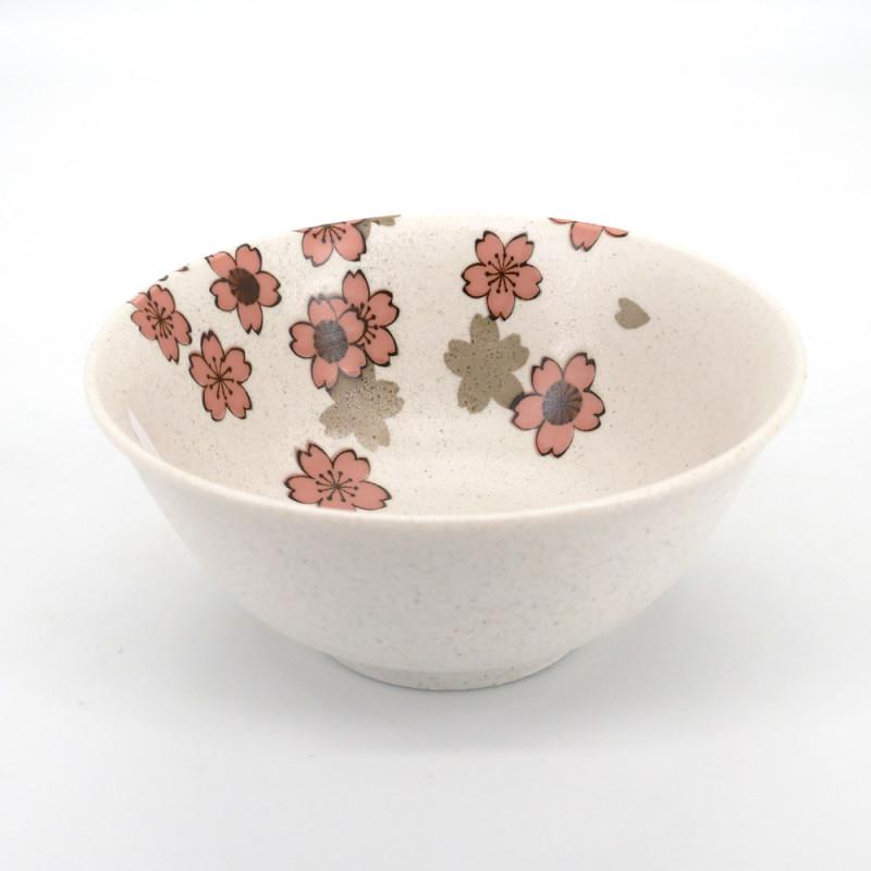 japanese white ramen bowl in ceramic, SAKURA, flowers
