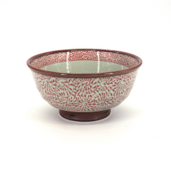 japanese noodle bowl in ceramic, TAKO KARAKUSA, red