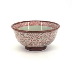 Tazón japonés de ceramica para fideos, TAKO KARAKUSA, rojo