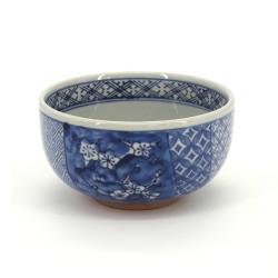 bol bleu japonais en céramique pour soupe motifs fleurs SHONZUI