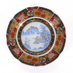 Japanese flat bowl Arita IMARI, landscape