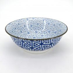 Japanische blau Ramenschüssel, SANKAKU, Dreiecke