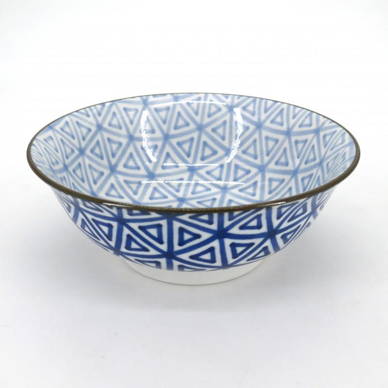 japanese blue ramen bowl, SANKAKU, triangles