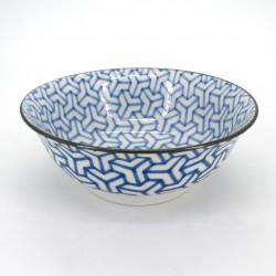 cuenco azul de ramen, KUMIKIKKO, patrones azules