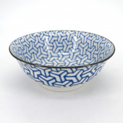 Japanische blau Ramenschüssel, KUMIKIKKO, blaue muster