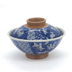 Japanese blue ceramic bowl with lid, SHONZUI, flowers