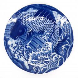 plato redondo azul japonés de ceramica, KOI, carpa