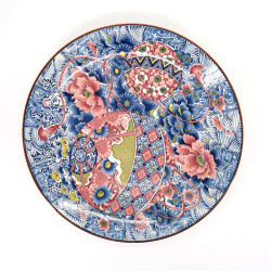 Japanese large-sized plate with colour patterns in ceramic TEMARI