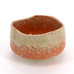 Cuenco de té japonés para ceremonia – chawan, HAIUWAGUSURI, naranja