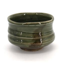 Japanische Teeschale für Zeremonie - chawan, SOUMA, grüne
