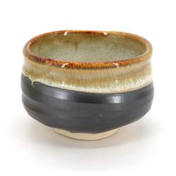 Cuenco de té japonés para ceremonia – chawan, KASUGA, gris y dorado