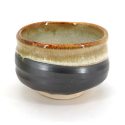 Japanische Teeschale für Zeremonie - chawan, KASUGA, grau und golden