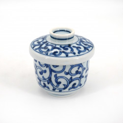 japanese tea bowl with lid - chawanmushi - KARAKUSA blue patterns