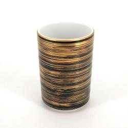 Taza de té japonesa grande de ceramica 10.2cm, MAKI, negra y dorada