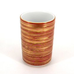 japanese red and golden tall teacup in ceramic 10.2cm MAKI