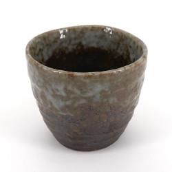 japanische Teetasse aus keramik, SHINO, schwarze und graue