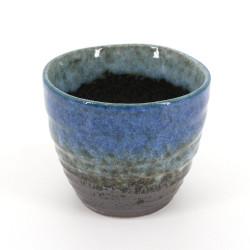Taza de té japonesa de ceramica, MORINO, negra y azul