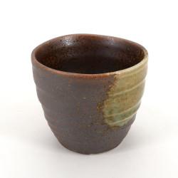 tazza da tè giapponese di ceramica, KOSHI, marrone e gialla