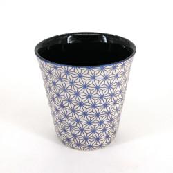 tasse à thé japonaise en céramique ASANOHA beige et bleue