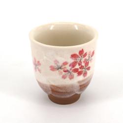 tasse à thé beige japonaise HEIAN en céramique fleurs de cerisier