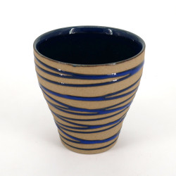 japanese beige ceramic teacup AORANSEN blue lines