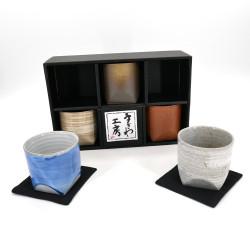 Set von 5 japanischen breiten Tassen 5 Farben Keramik GOSAISOROI