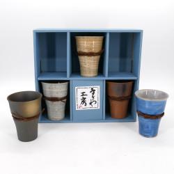 set of 5 Japanese ceramic mazagrans cups 5 colors IZAKAYA