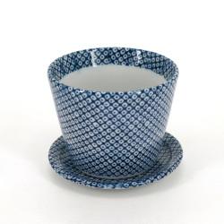tasse soba japonaise avec motifs bleus en céramique SHIBORI