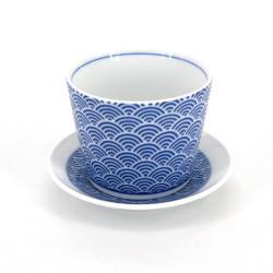 tasse soba japonaise avec vagues en céramique SEIGAIHA