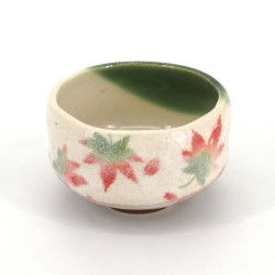 small Japanese bowl with ceramic tea ceremony, MOMIJI, beige and green