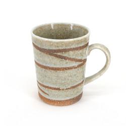 mug japonais à thé en céramique blanc avec anse, SHIROYU, tourbillon
