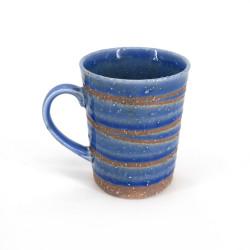 Tazza da tè giapponese di ceramica blu, AOYU, mulinello