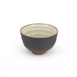 Japanese black and brown teacup in ceramic SABI rust