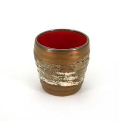 japanese golden ceramic teacup HAKE white brush