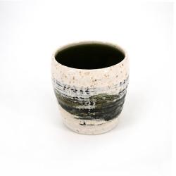 japanische weiße Teetasse aus keramik, HAKE grüne pinsel