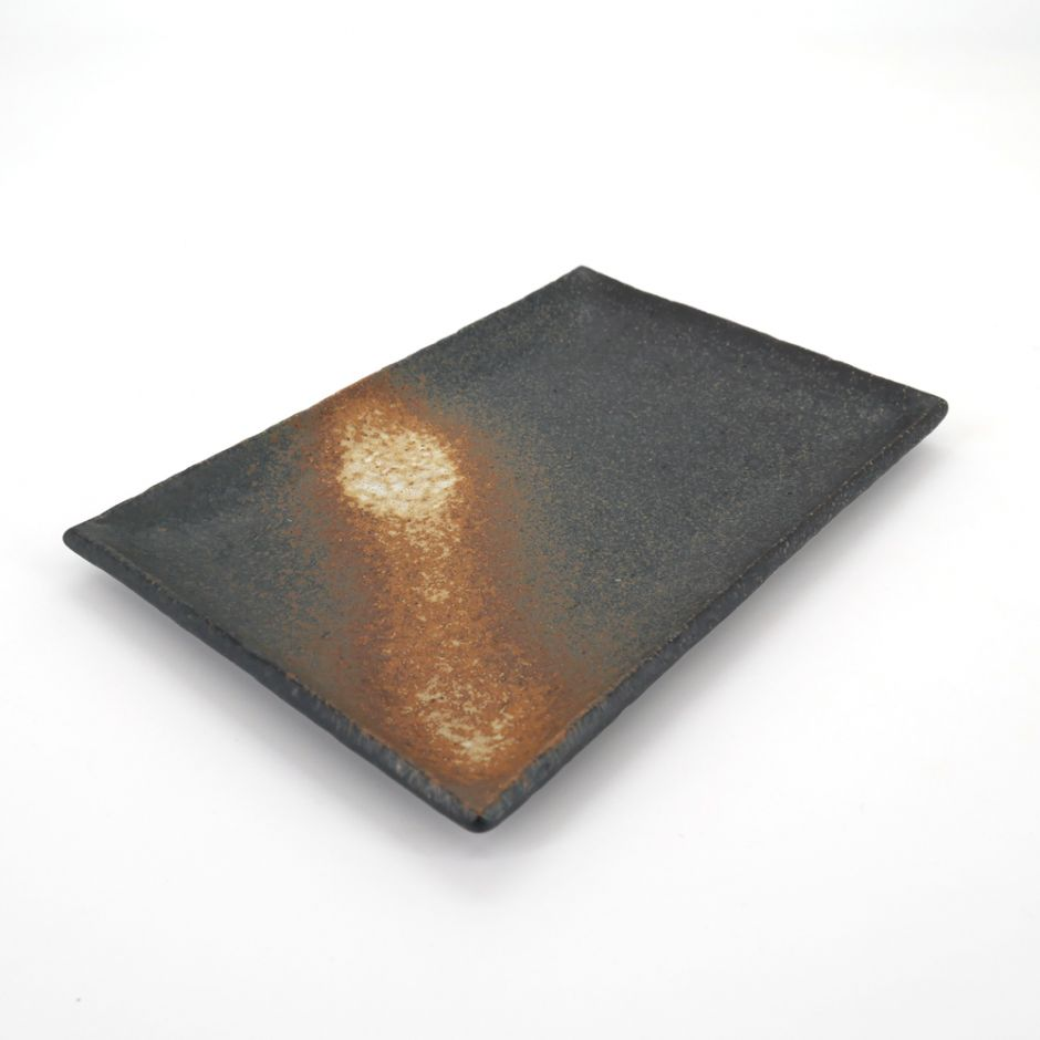 Japanese rectangle plate in ceramic, BIZEN, black and rust