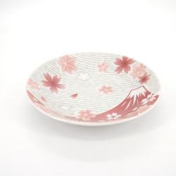 assiette ronde japonaise en céramique fleurs, FUJI, rouge