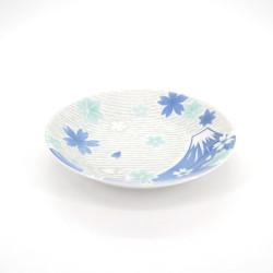 plato redondo japonés flores de cerezo, FUJI, azul