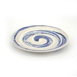 assiette japonaise ronde en céramique, NARUTO, tourbillon bleu