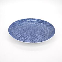 plato azul redondo japonés de ceramica, SEIGAIHA, olas