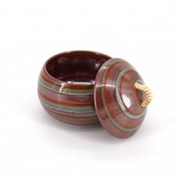 Taza redonda japonesa con tapa cerámica rojo NARUTO, torbellino