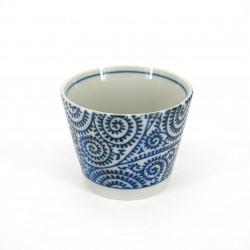 Japanese soba cup in ceramic TAKO KARAKUSA blue patterns