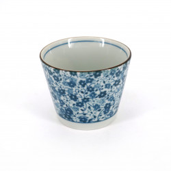 Japanese soba cup in ceramic KOHANA blue flowers