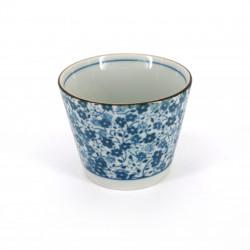 Japanische soba tasse aus keramik, KOHANA blaue blumen