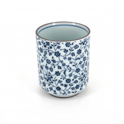 japanese white teacup in ceramic HANAMOMEN blue flowers