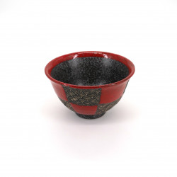 small red japanese rice bowl in ceramic, SEIGAIHA, checkered