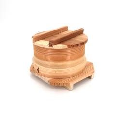 Japanese noodle bowl with mat, lid and natural wood underside Ø15cm