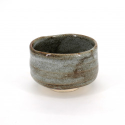 Japanese tea bowl for ceremony, AOSHINO, grey