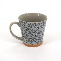 mug japonais à thé en céramique avec anse, KARAKUSA, bleu