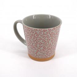 mug japonais à thé en céramique avec anse, KARAKUSA, rouge